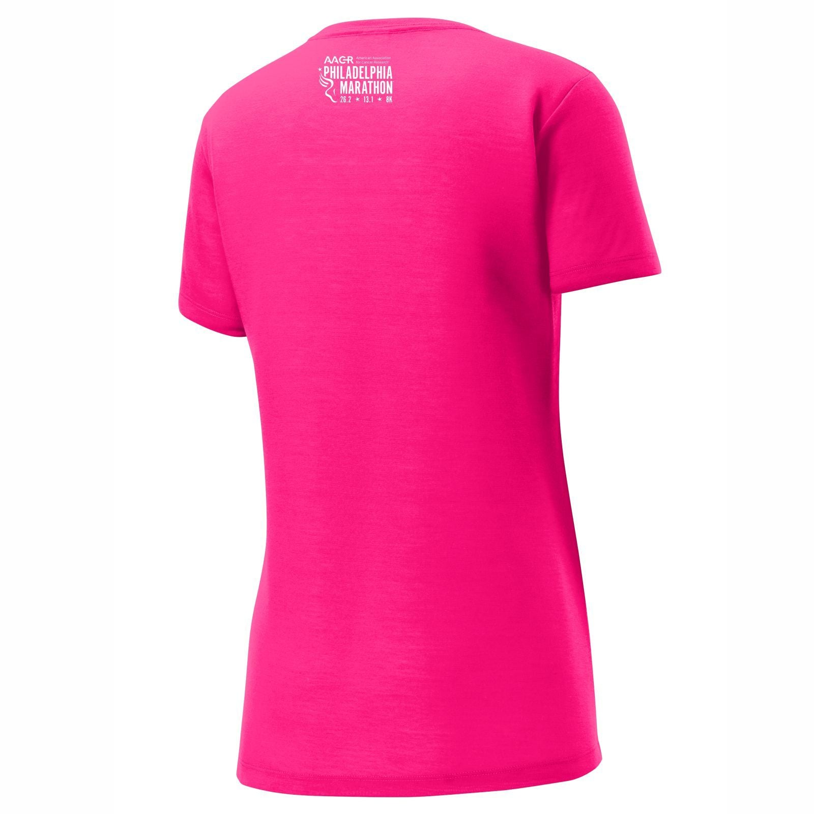 AACR Philadelphia Marathon 'Run Philly' Women's SS Tech Scoop-Neck Tee - Neon Pink