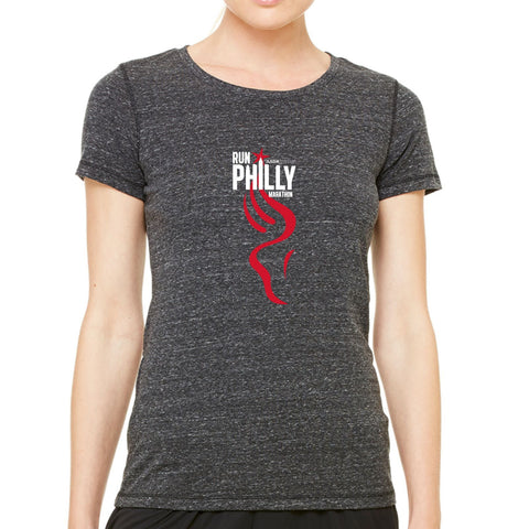 AACR Philadelphia Marathon 'Run Philly' Women's SS Tri-Blend Tee - Charcoal Heather