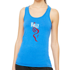AACR Philadelphia Marathon 'Run Philly' Women's Racerback Bamboo Singlet - Royal/Dk Navy