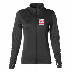 AACR Philadelphia Marathon '25th Anniversary Left Chest Embroidered Patch' Women's Tech Fleece Lightweight Full Zip Jacket - Black