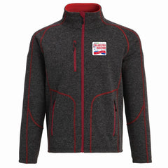 AACR Philadelphia Marathon '25th Anniversary Left Chest Embroidered Patch' Men's Bonded Fleece Full Zip Sweater Jacket - Red / Charcoal