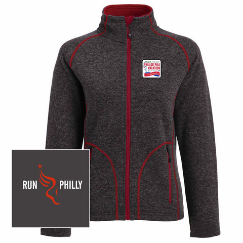 AACR Philadelphia Marathon '25th Anniversary Left Chest Embroidered Patch' Women's Bonded Fleece Full Zip Sweater Jacket - Red / Charcoal