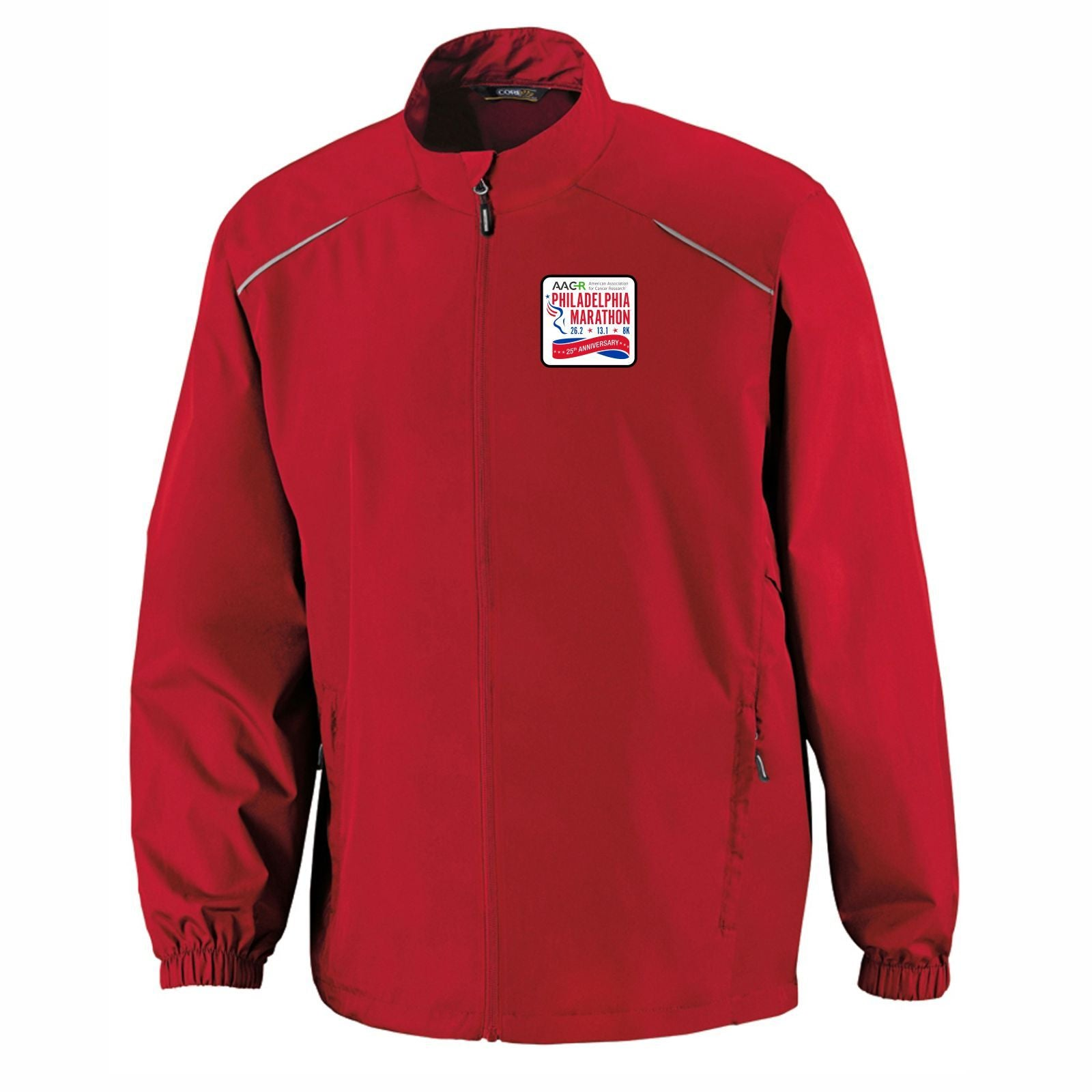 AACR Philadelphia Marathon '25th Anniversary Left Chest Embroidered Patch' Men's Tech Lightweight Full Zip Jacket - Red