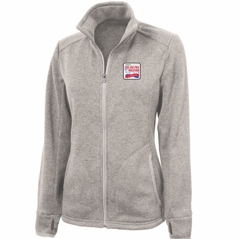 AACR Philadelphia Marathon '25th Anniversary Left Chest Embroidered Patch' Women's Fleece Full Zip Jacket - Oatmeal Heather