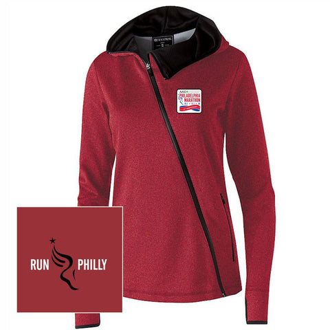 AACR Philadelphia Marathon '25th Anniversary Left Chest Embroidered Patch' Women's Fleece 'Artillery' Angled Zip Hoody - Scarlet Heather