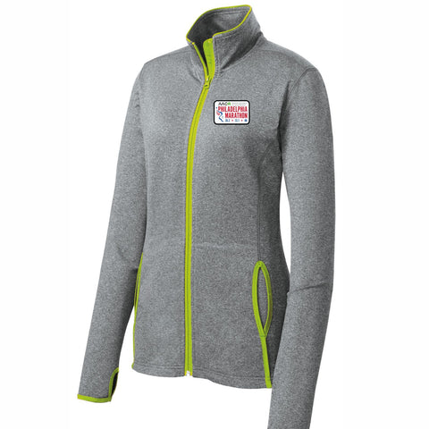AACR Philadelphia Marathon 'Left Chest Embroidered' Patch design Women's Stretch Full Zip Jacket - Charcoal Grey Heather / Charge Green