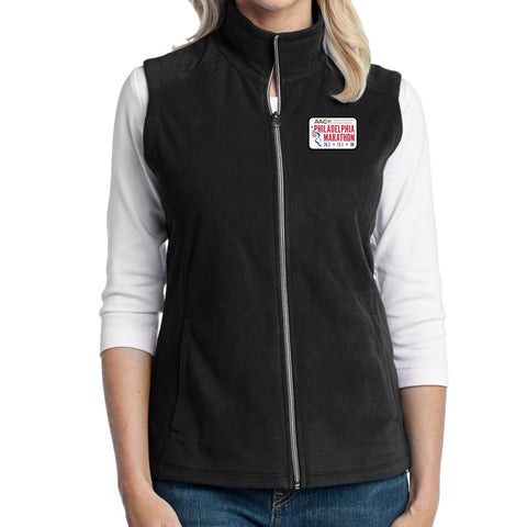 AACR Philadelphia Marathon 'Left Chest Embroidered' Patch design Women's Fleece Full Zip Vest - Black