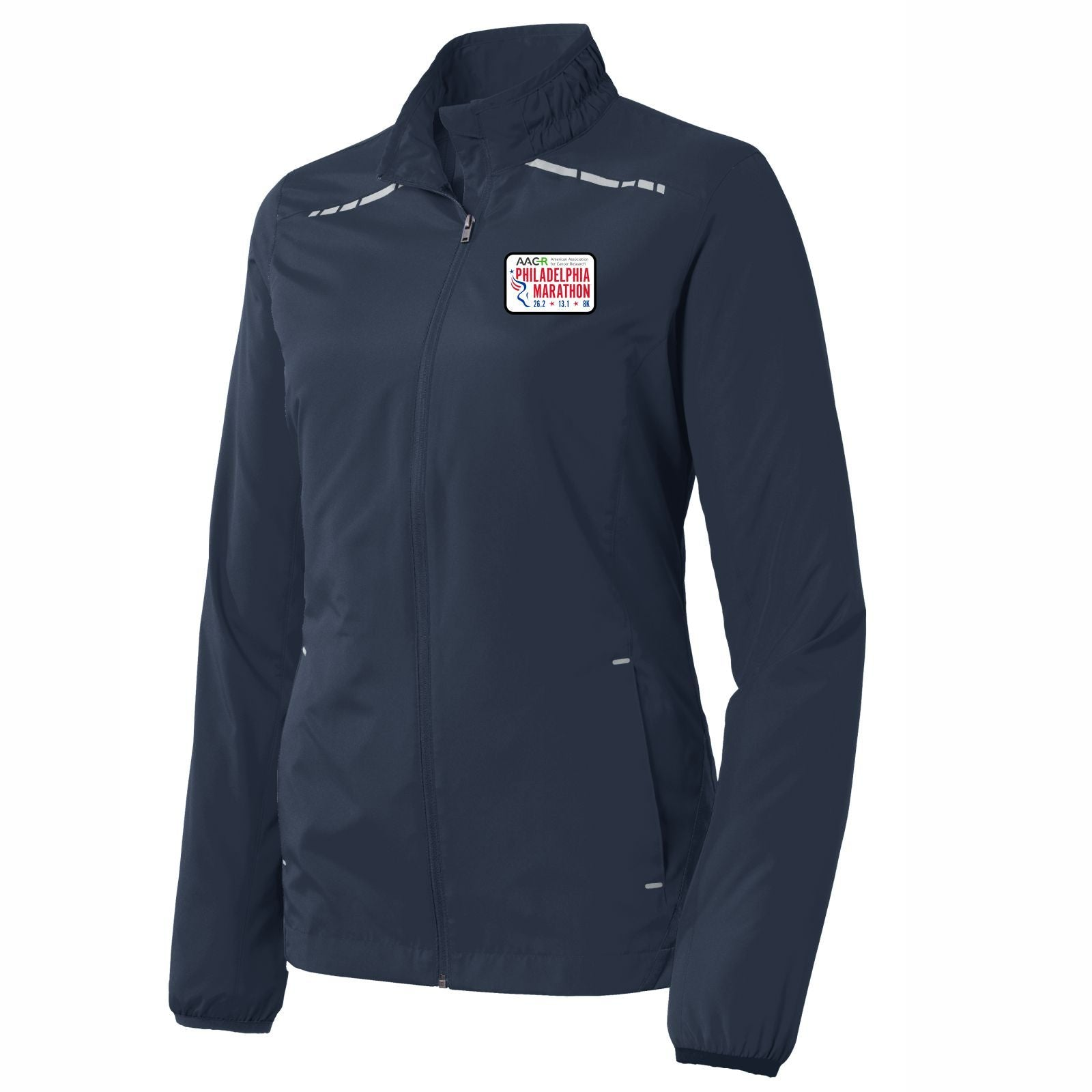 AACR Philadelphia Marathon 'Left Chest Embroidered' Patch design Women's Reflective Lightweight Full Zip Jacket - Dress Blue Navy
