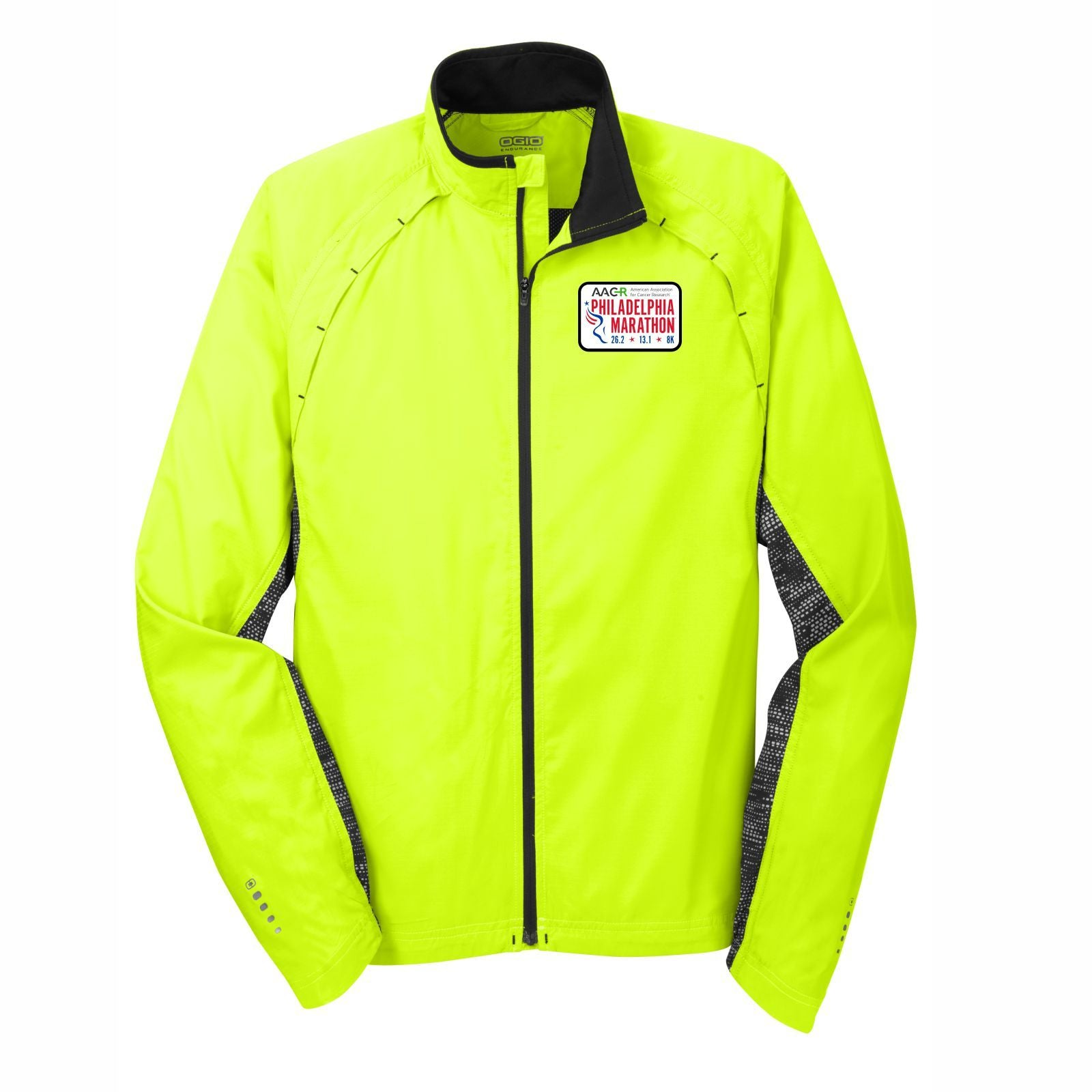 AACR Philadelphia Marathon 'Left Chest Embroidered' Patch design Men's Reflective Water-Resistant Full Zip Jacket - Pace Yellow / Black Reflective