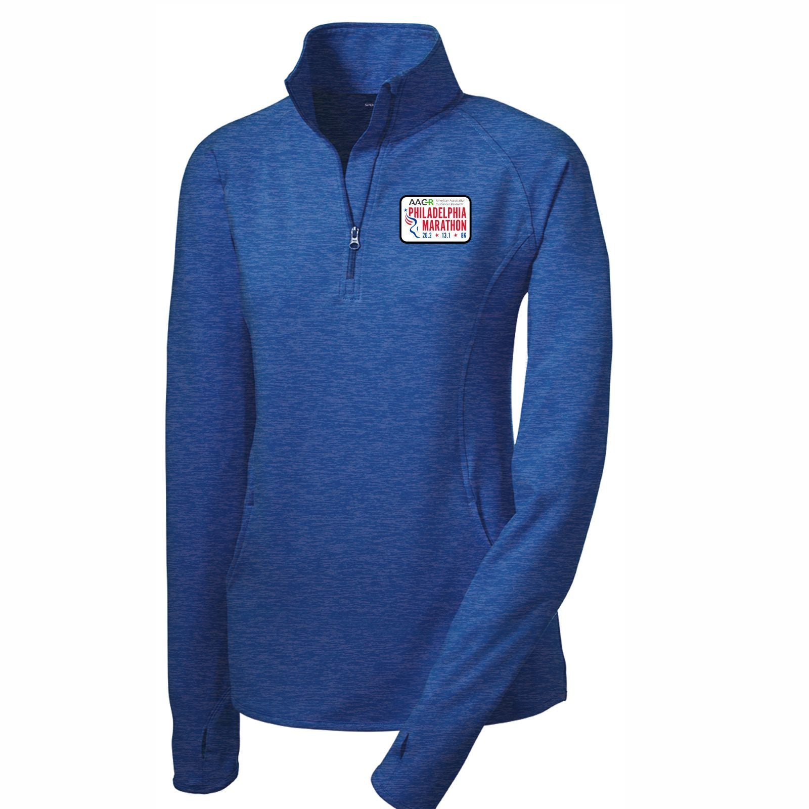 AACR Philadelphia Marathon 'Left Chest Embroidered' Patch design Women's Tech 1/2 Zip Pullover - True Royal Heather