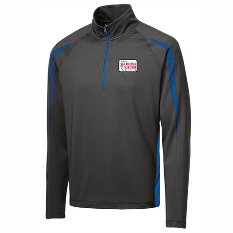 AACR Philadelphia Marathon 'Left Chest Embroidered' Patch design Men's Colorblock 1/2 Zip Pullover - Charcoal / Royal