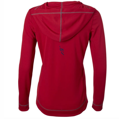 Dietz & Watson Philadelphia Half Marathon Embroidered Women's Tech 1/2 Zip Hoody - Red