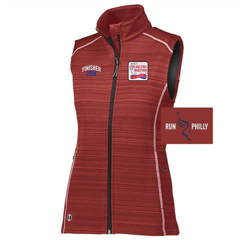 Dietz & Watson Philadelphia Half Marathon: 'Finisher LCE 25th Anniversary' Women's Tech 'Deviate' Full Zip Vest - Scarlet