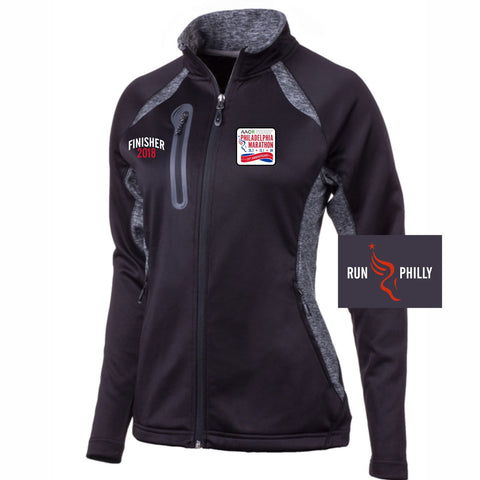 Dietz & Watson Philadelphia Half Marathon: 'Finisher LCE 25th Anniversary' Women's Tech 'Synapse' Full Zip Jacket - Black