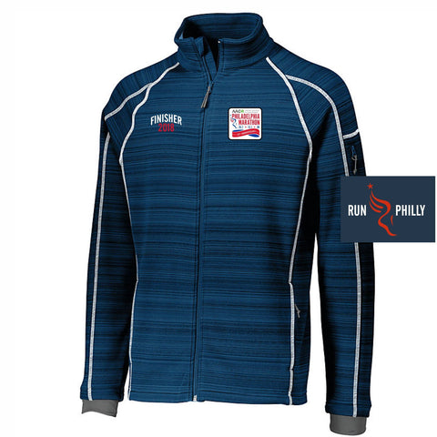 Dietz & Watson Philadelphia Half Marathon: 'Finisher LCE 25th Anniversary' Men's 'Deviate' Full Zip Bonded Tech Jacket - Navy