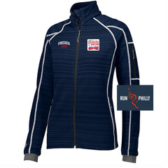 Dietz & Watson Philadelphia Half Marathon: 'Finisher LCE 25th Anniversary' Women's 'Deviate' Full Zip Bonded Tech Jacket - Navy
