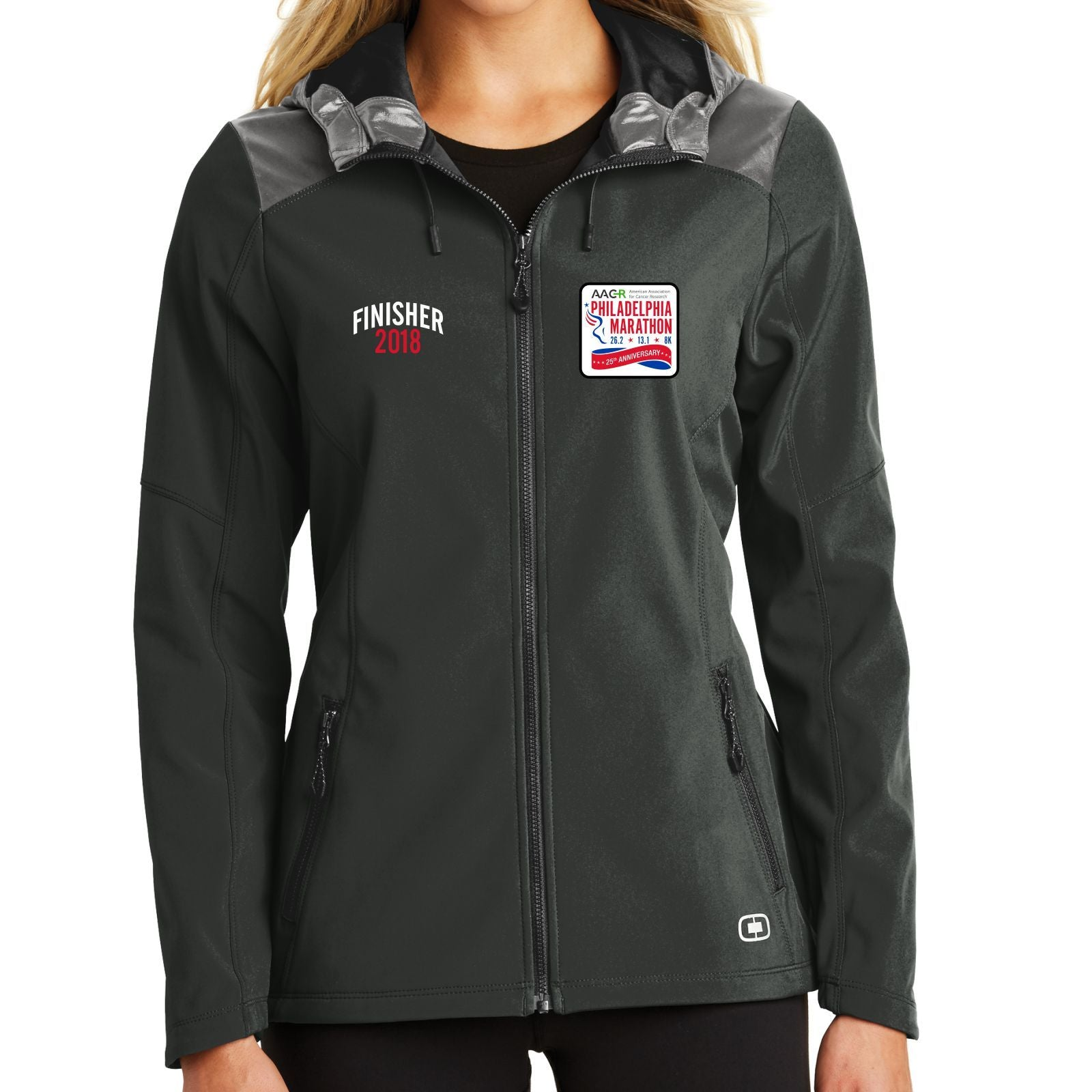 Dietz & Watson Philadelphia Half Marathon: 'Finisher LCE 25th Anniversary' Women's Soft-Shell Hooded Full Zip Jacket - Black