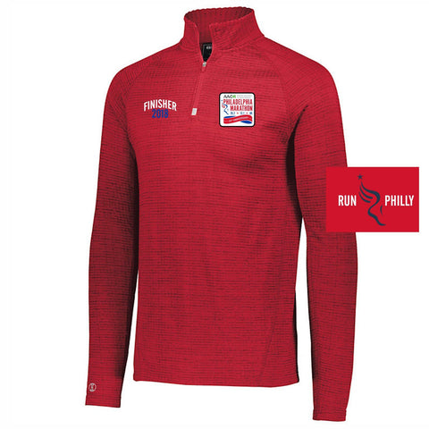Dietz & Watson Philadelphia Half Marathon: 'Finisher LCE 25th Anniversary' Men's Lightweight 1/4 Zip Tech Pullover - Scarlet Heather