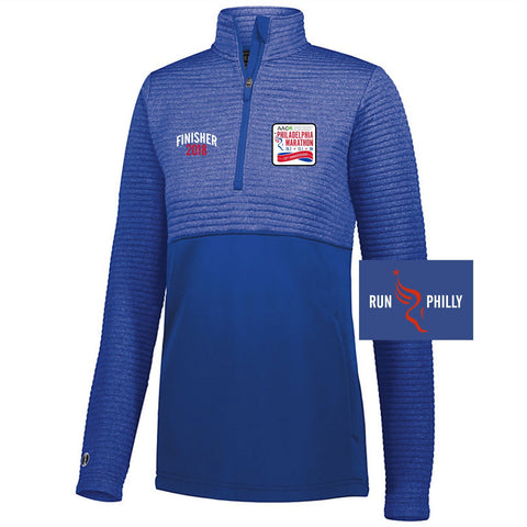 Dietz & Watson Philadelphia Half Marathon: 'Finisher LCE 25th Anniversary' Women's Quilted 1/4 Zip Fleece Pullover - Royal