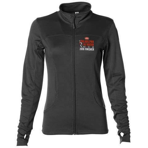 Dietz & Watson Philadelphia Half Marathon: '2018 Emb. Finisher 13.1' Women's Lightweight Full Zip Tech Fleece Jacket - Black