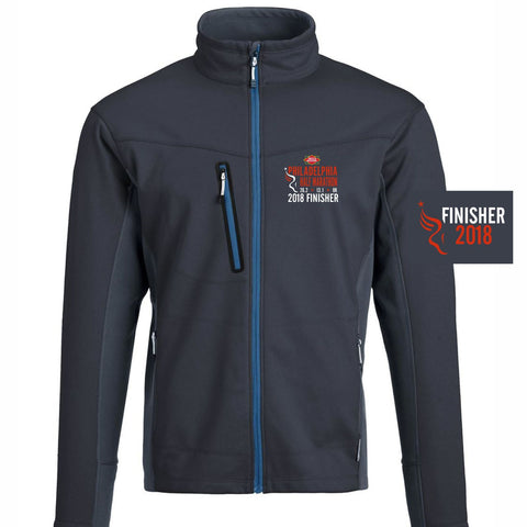 Dietz & Watson Philadelphia Half Marathon: '2018 Emb. Finisher 13.1' Men's Tech Full Zip Jacket - Midnight Navy