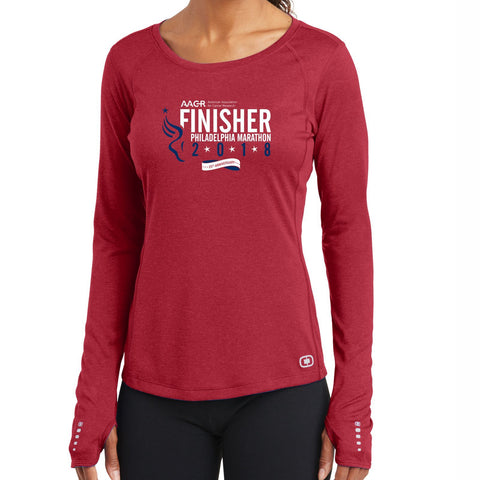 AACR Philadelphia Marathon : '2018 25th Anniversary Finisher 26.2' Women's LS Tech Tee - Ripped Red