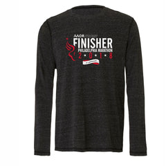 AACR Philadelphia Marathon : '2018 25th Anniversary Finisher 26.2' Men's LS Tri-Blend Tee - Charcoal Heather