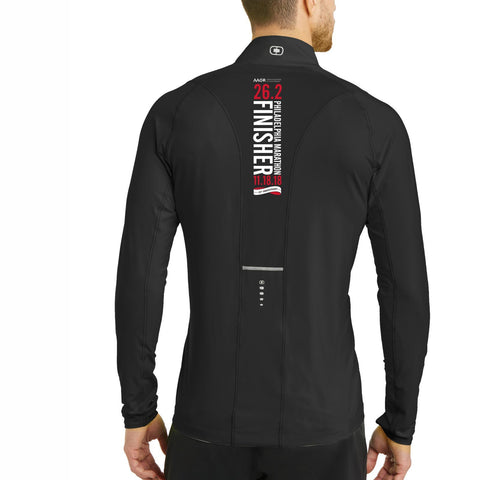 AACR Philadelphia Marathon : '2018 25th Anniversary Finisher 26.2' Men's 1/4 Zip Tech Pullover - Blacktop