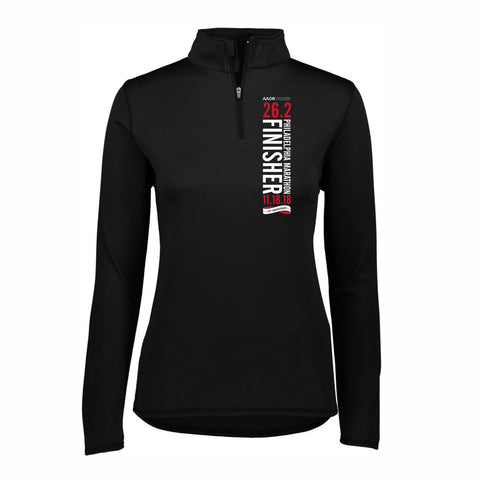 AACR Philadelphia Marathon : '2018 25th Anniversary Finisher 26.2' Women's 1/4 Zip Tech Pullover - Black