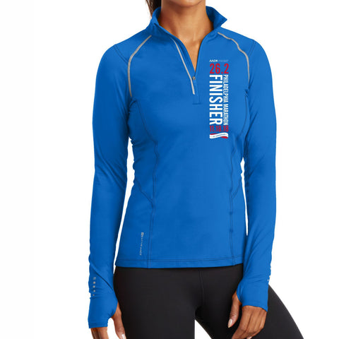 AACR Philadelphia Marathon : '2018 25th Anniversary Finisher 26.2' Women's 1/4 Zip Tech Pullover - Electric Blue