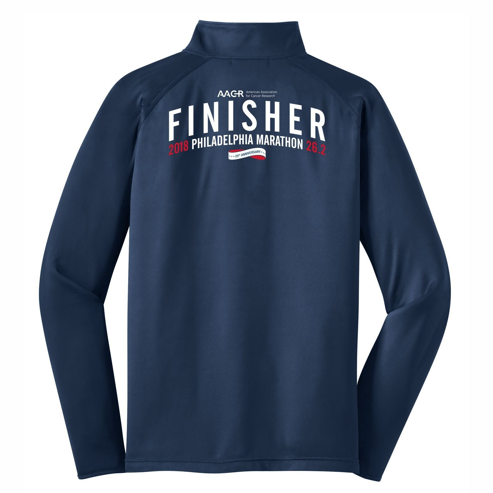 AACR Philadelphia Marathon : '2018 25th Anniversary Finisher 26.2' Men's 1/4 Zip Tech Pullover - Heather Navy