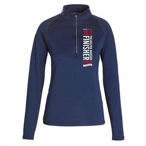 AACR Philadelphia Marathon : '2018 25th Anniversary Finisher 26.2' Women's 1/4 Zip Tech Pullover - Heather Navy