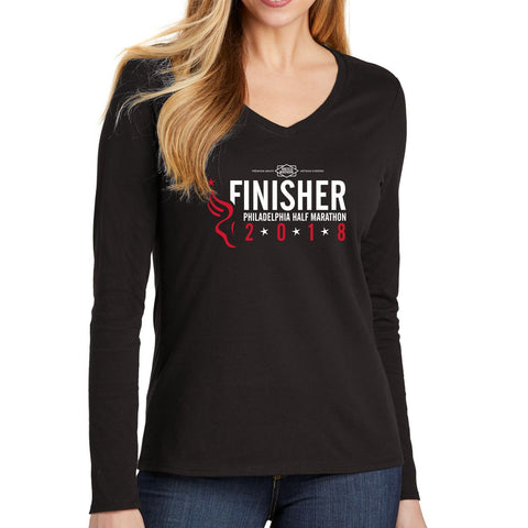 Dietz & Watson Philadelphia Half Marathon: '2018 Finisher 13.1' Women's LS Leisure Tee - Black