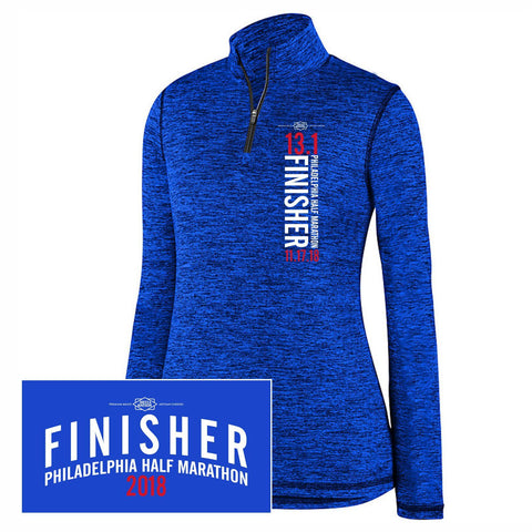 Dietz & Watson Philadelphia Half Marathon: '2018 Finisher 13.1' Women's Heathered 1/4 Zip Tech Pullover - Royal