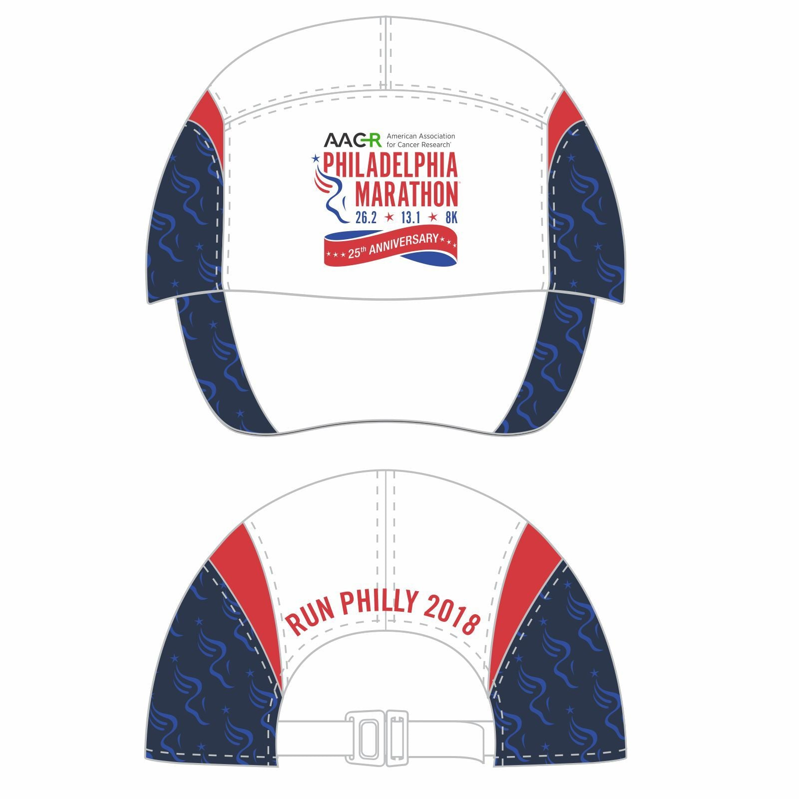 AACR Philadelphia Marathon '25th Anniversary' Tri Tech Cap - White w/ Navy Sides, Red Gussets
