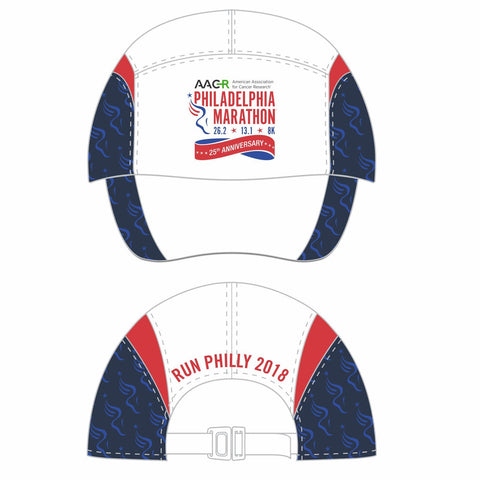 Philadelphia Marathon: '25th Anniversary' Tri Tech Cap - White w/ Navy Sides, Red Gussets