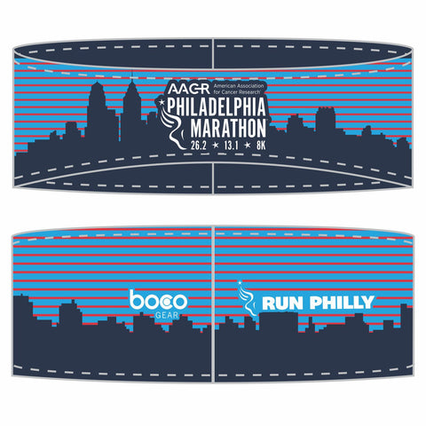 Philadelphia Marathon: 'Full Marathon' Sublimated Tech Ear Warmer - Blue Striped