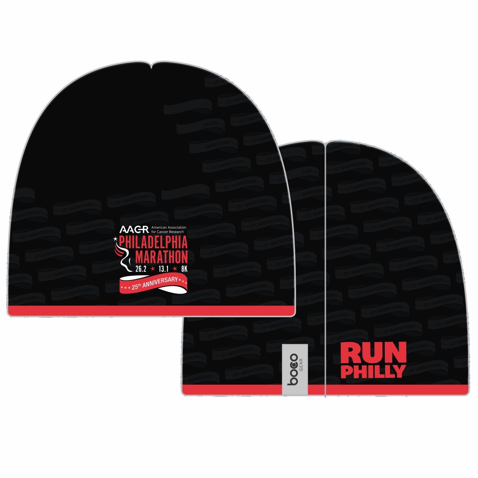 Philadelphia Marathon: '25th Anniversary' Sublimated Tech Beanie - Black