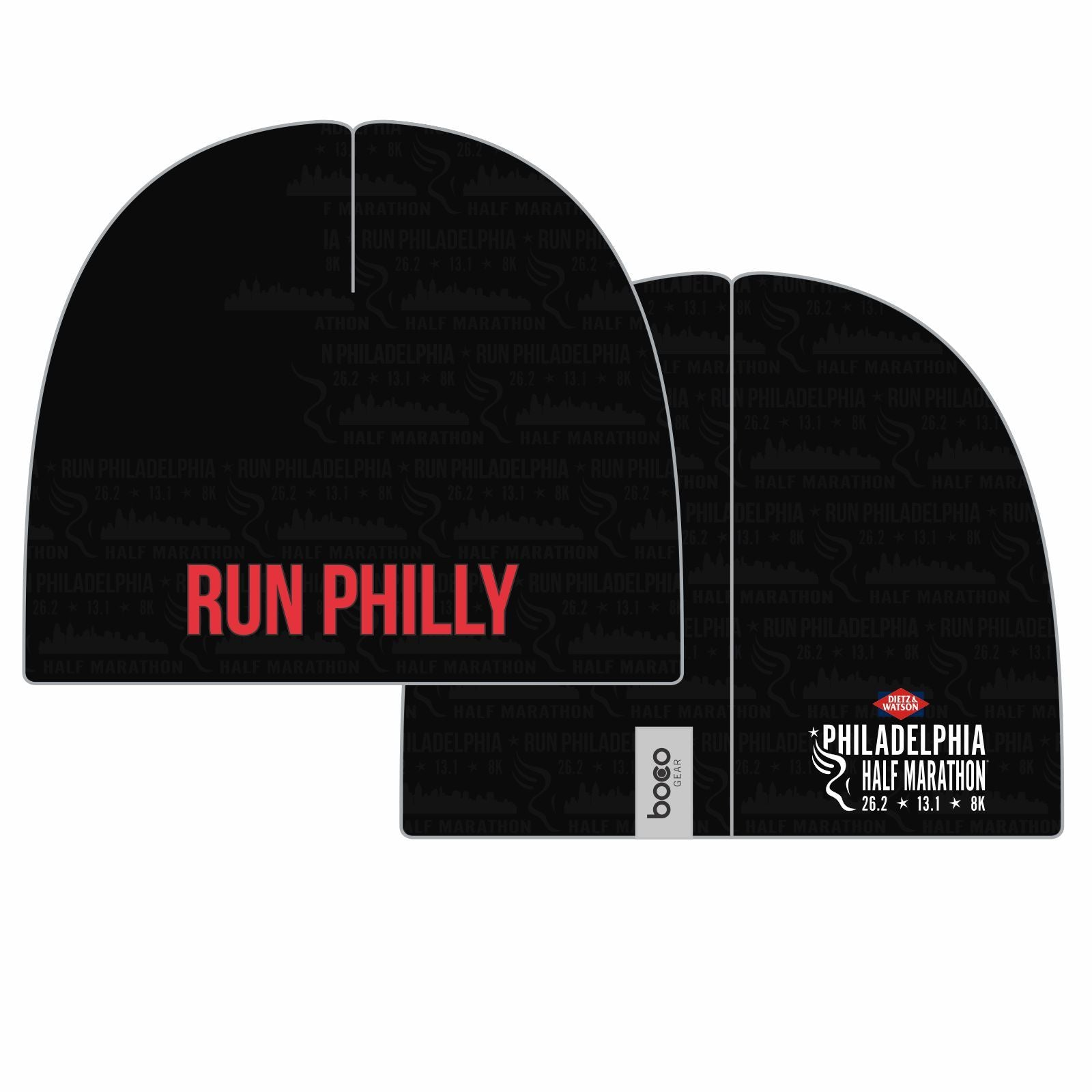Philadelphia Marathon: 'Half Marathon' Sublimated Fleece Beanie - Black