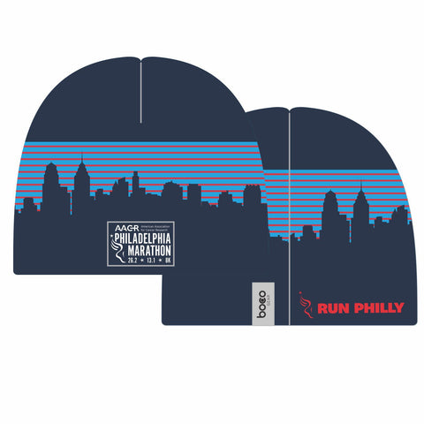 Philadelphia Marathon: 'Full Marathon' Sublimated Tech Beanie - Navy
