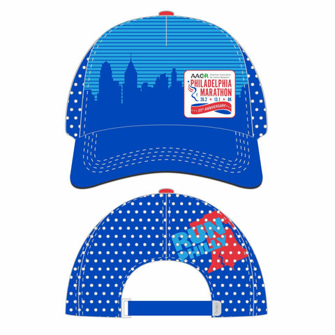 Philadelphia Marathon: '25th Anniversary' Tech Running Trucker - Blue