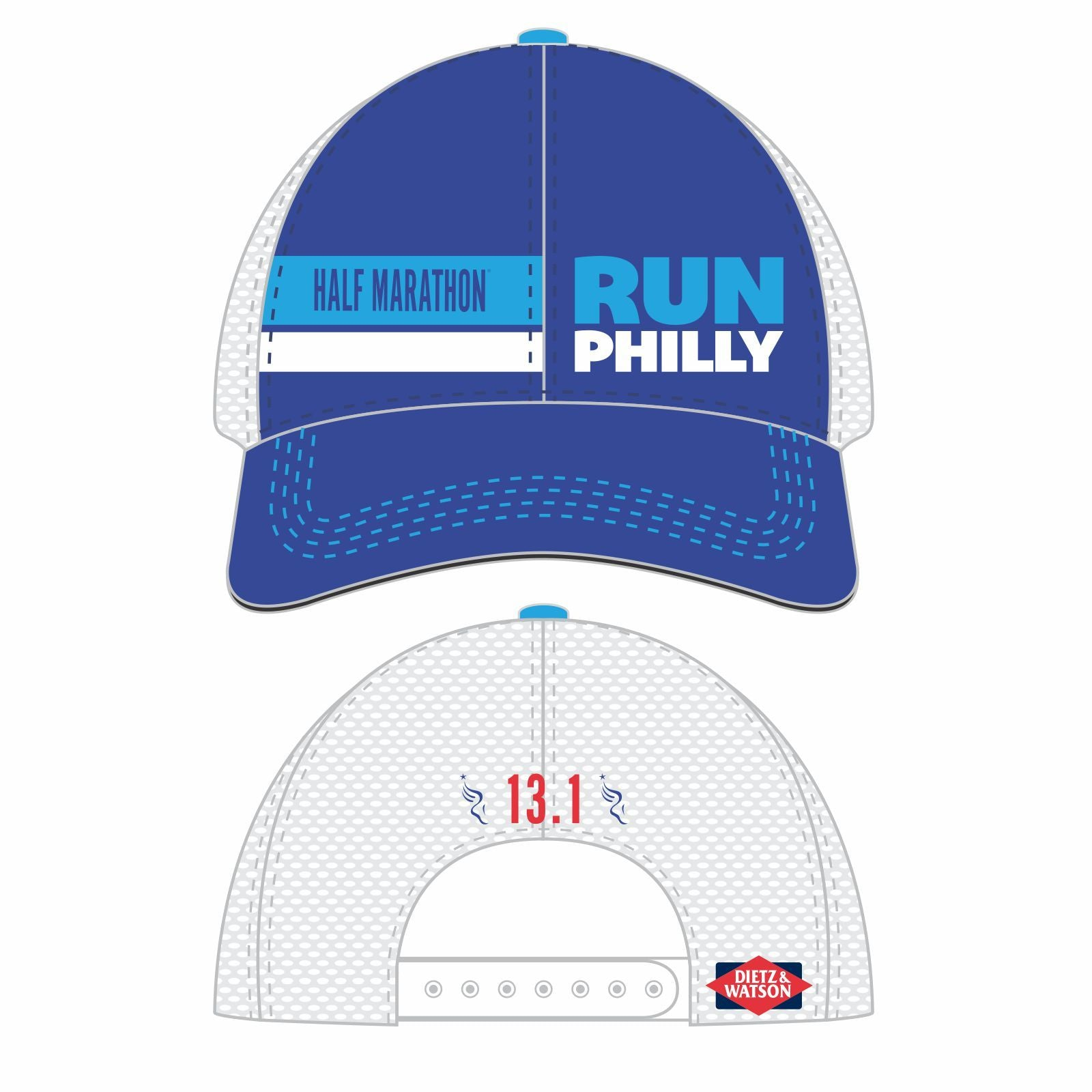 Philadelphia Marathon: 'Half Marathon' Relaxed Fit Tech Trucker - Royal / White