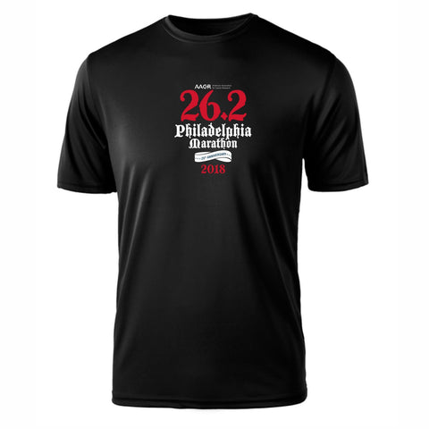 AACR Philadelphia Marathon 'Directions 26.2' Men's SS Tech Tee - Black