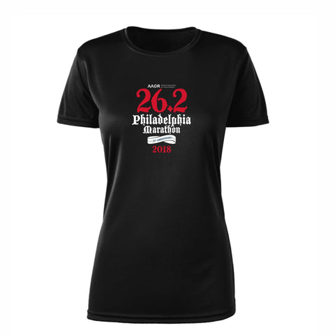 AACR Philadelphia Marathon 'Directions 26.2' Women's SS Tech Tee - Black