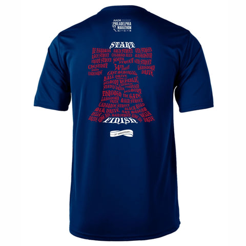 AACR Philadelphia Marathon 'Directions 26.2' Men's SS Tech Tee - Navy