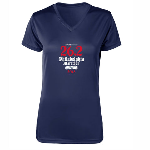 AACR Philadelphia Marathon 'Directions 26.2' Women's SS Tech V-Neck Tee - Navy
