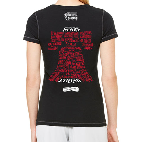 AACR Philadelphia Marathon 'Directions 26.2' Women's SS Tri-Blend Tee - Solid Black