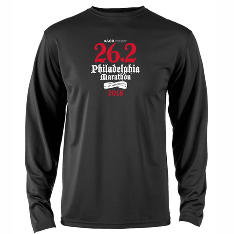 AACR Philadelphia Marathon 'Directions 26.2' Men's LS Tech Tee - Black