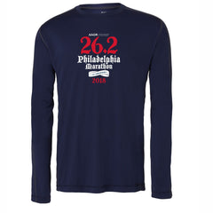 AACR Philadelphia Marathon 'Directions 26.2' Men's LS Tech Tee - Sport Dark Navy