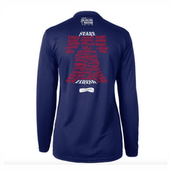 AACR Philadelphia Marathon 'Directions 26.2' Women's LS Tech V-Neck Tee - Navy